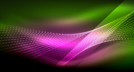 Glowing shiny neon dark background. Ilustração