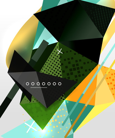 Abstract geometric background, polygonal triangle elements, lines and material textures, holographic elements. Illustration