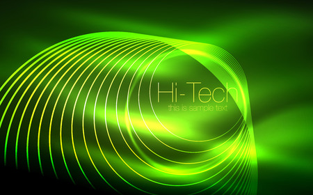 Circular glowing neon shapes, techno background. Abstract shiny transparent circles on dark technology space