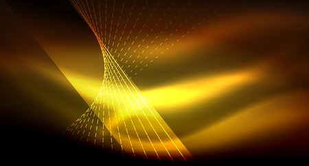 Smooth light effect, straight lines on glowing shiny neon dark background. Energy technology idea Illustration