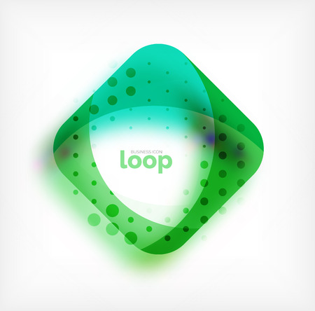 A Vector square loop business symbol, geometric icon created of waves, with blurred shadow