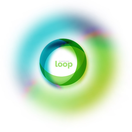 Loop circle business icon, created with glass transparent color shapes.