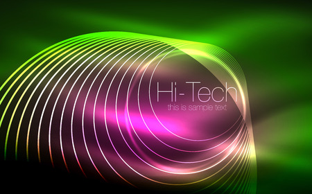 Circular glowing neon shapes techno background. Illustration