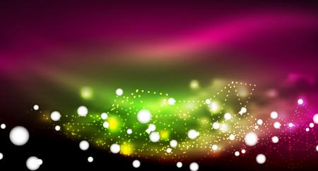 Shiny stars, neon glowing digital connected light dots 矢量图像