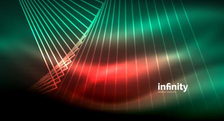 Shiny straight lines on dark background, techno digital modern template
