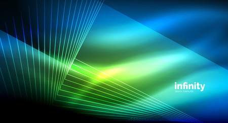 Shiny straight lines on dark background, techno digital modern template. Vector background Illustration
