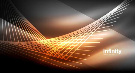 Shiny straight lines on dark background, techno digital modern template.