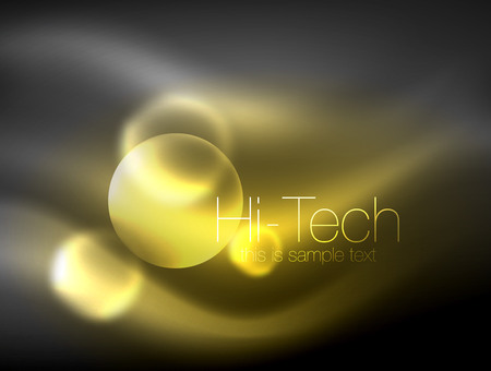 Blurred neon glowing circle, hi-tech modern bubble template, techno glowing glass round shapes or spheres. Geometric abstract background. Vector illustration