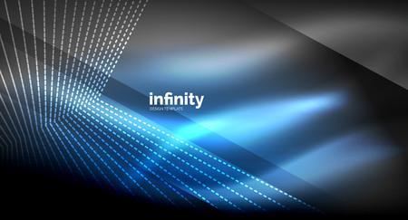 Shiny straight lines on dark background, techno digital modern template. Vector background Illustration