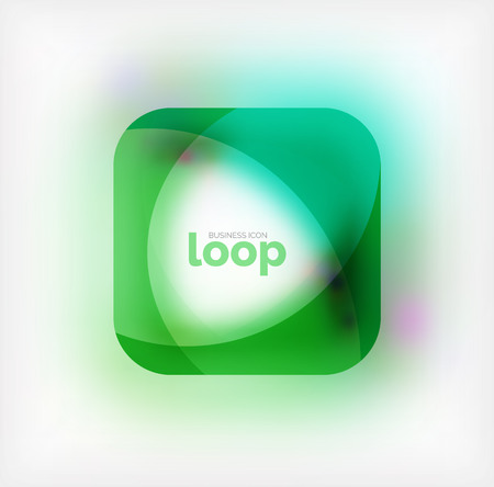 Vector square loop business symbol, geometric icon created of waves, with blurred shadow. Isolated illustration Ilustração