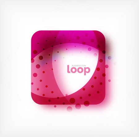 Square vector loop business symbol, geometric icon created of waves, with blurred shadow.