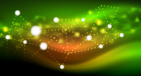 Shiny stars, neon glowing digital connected light dots. Vector technology abstract background