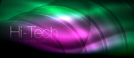 Glossy light effect neon glowing waves, shiny lights. Digital techno futuristic abstract background, vector illustration Illustration