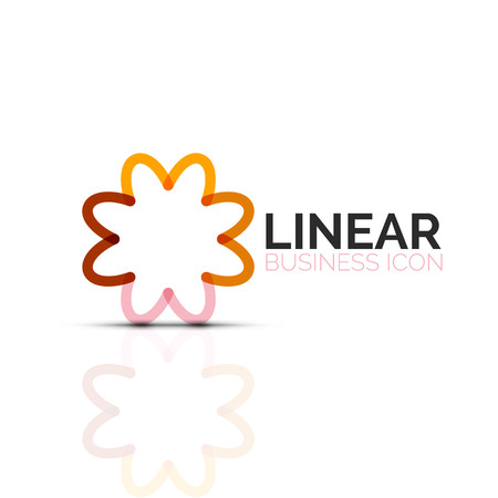 Abstract flower or star, linear thin line icon.