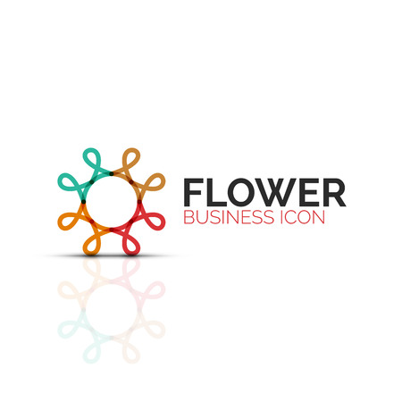 Abstract flower or star minimalistic linear icon