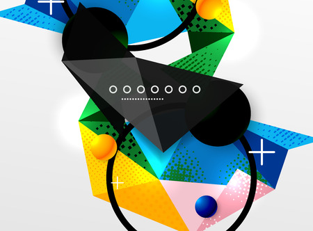 Vector color geometric abstract composition, triangular and polygonal design elements, digital background