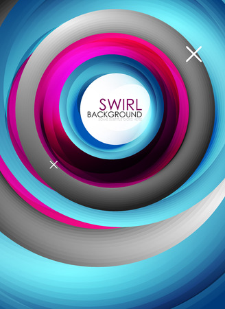 Spiral swirl flowing lines 3d vector abstract background.