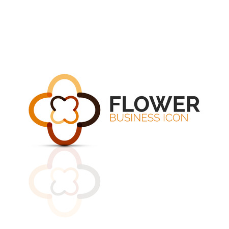 Abstract flower or star minimalistic linear icon, thin line geometric flat symbol for business icon design, abstract button or emblem. Vector illustration isolated on white created with color segments Illustration