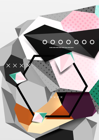 Color 3d geometric composition poster. Vector illustration of colorful triangles, pyramids, hexagons and other shapes on gray background Illustration