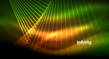 Shiny straight lines on dark background, techno digital modern template. Vector background Çizim