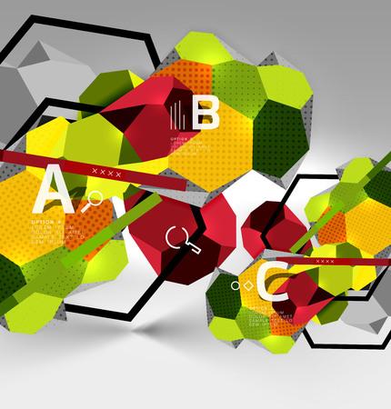 3d hexagon geometric composition, geometric digital abstract background Standard-Bild - 99750870