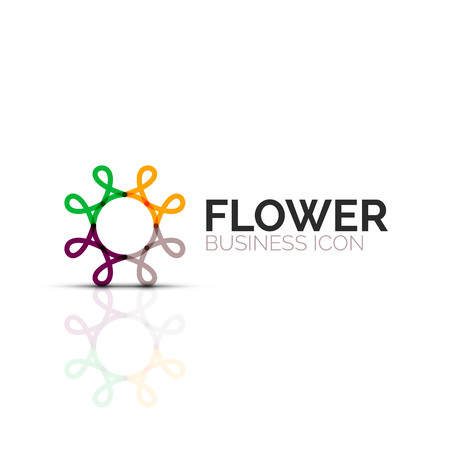 Abstract flower or star minimalistic linear icon, thin line geometric flat symbol for business icon design, abstract button or emblem Illustration