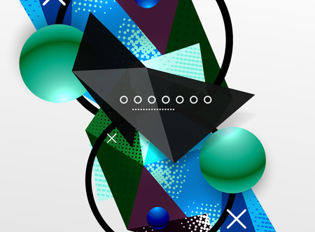 Vector color geometric abstract composition, triangular and polygonal design elements, digital techno background Illustration