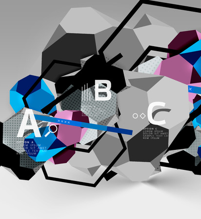 3d hexagon geometric composition abstract background Çizim