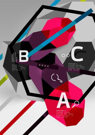3d hexagon geometric composition