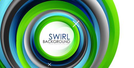 Spiral swirl flowing lines 3d vector abstract background. Vector illustration Ilustração