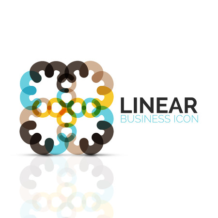 Abstract flower or star, linear thin line icon. Minimalist business geometric shape symbol created with line segments. Vector illustration
