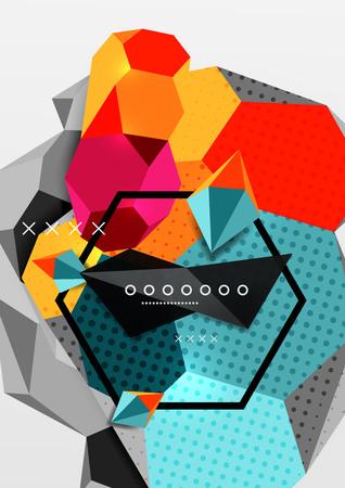 Color 3d geometric composition poster Vector illustration.