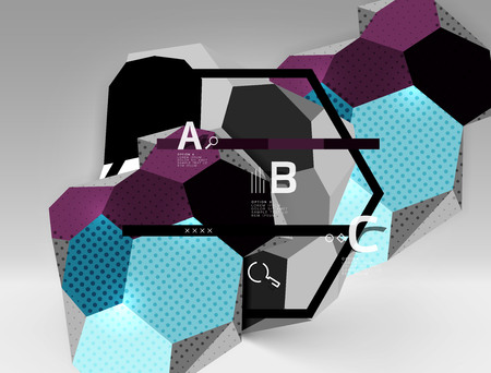 3d hexagon geometric composition, geometric digital abstract background. Techno or business presentation template with sample options. Vector illustration