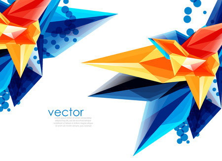 Vector color glass crystals on white background, geometric abstract composition with glass gemstones and copyspace, background template