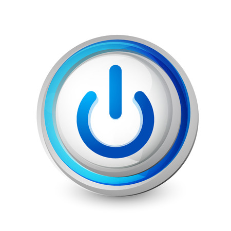 Power button blue icon, start symbol, vector illustration
