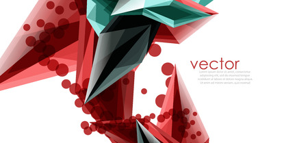 Geometric abstract composition with glass gemstones Illustration