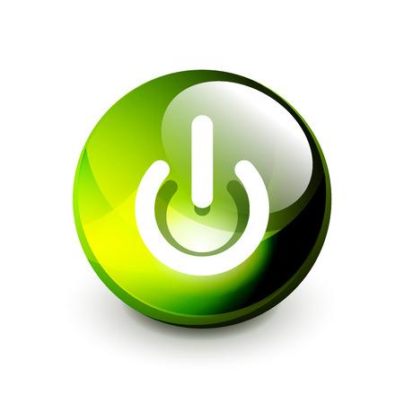 Icona del pulsante di alimentazione, simbolo di avvio, illustrazione vettoriale Vettoriali