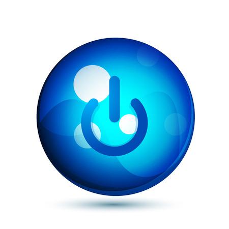 Power button blue icon, start symbol Illustration