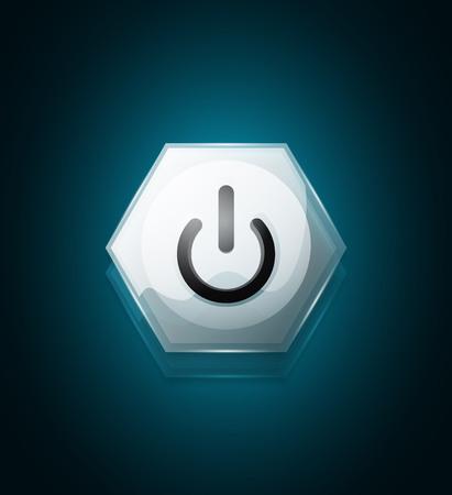 Glass transparent effect blue power start button, on off icon, vector UI or app symbol design. Vector illustration