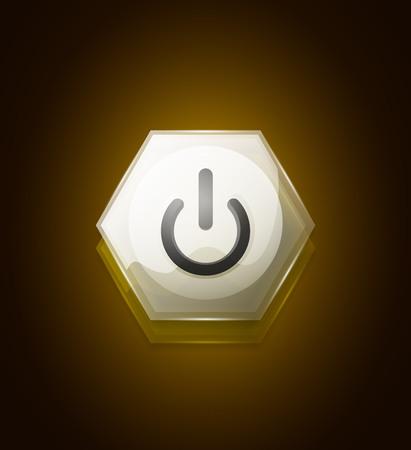 Glass transparent effect power start button, on off icon, vector UI or app symbol design. Vector illustration Illustration