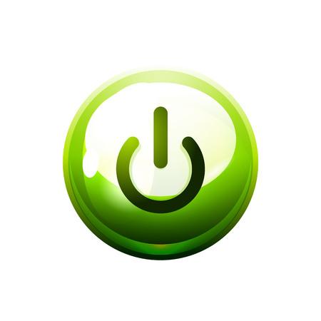 Icono del botón de encendido, símbolo de inicio Ilustración de vector