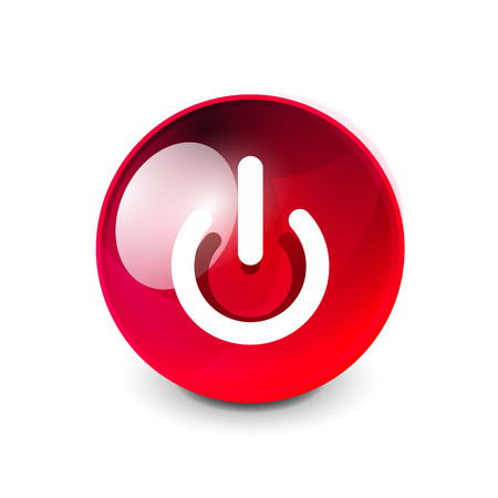 Power button icon, start symbol in red glass sphere button. Illustration