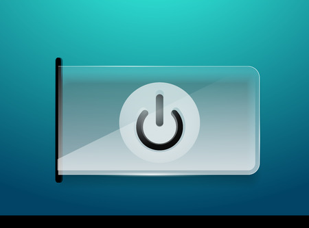 Glass transparent effect power start button, on and off icon.