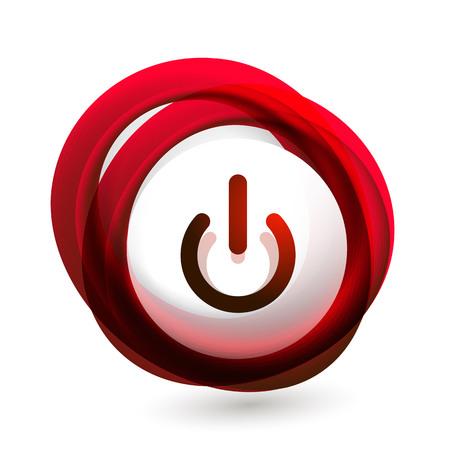 Glass transparent effect power start button, on off icon, vector UI or app symbol design. Illustration