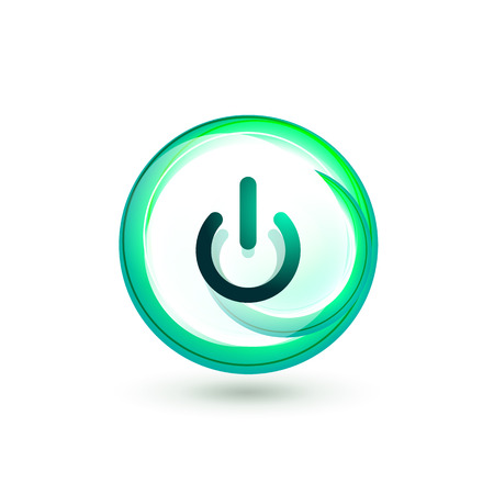 Glass transparent effect power start button with blue swirl design effect, on off icon, vector UI or app symbol design. Vector illustration