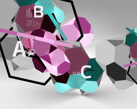 3d hexagon geometric composition, geometric digital abstract background. Illustration