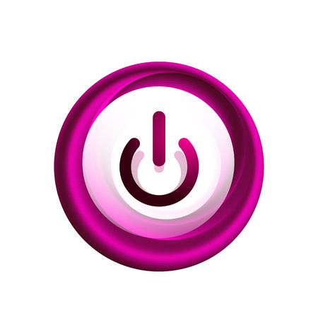 Glass transparent effect power start button, on off icon, vector UI or app symbol design. Иллюстрация
