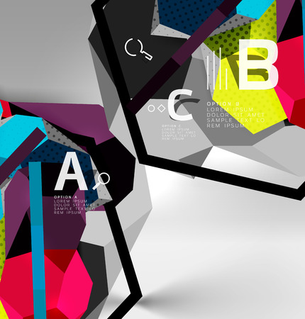 3d hexagon geometric composition, geometric digital abstract background. Illustration