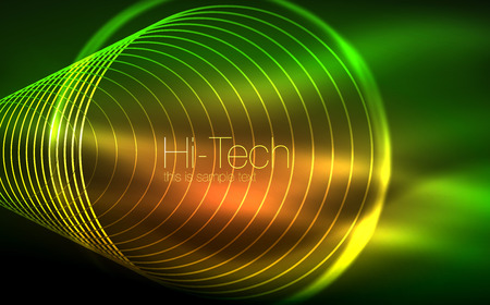 Circular glowing neon shapes, techno background. Abstract shiny transparent circles on dark technology space.