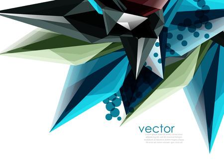 Cristalli di vetro di colore su sfondo bianco, composizione astratta geometrica con pietre preziose di vetro e copia spazio, modello di sfondo.